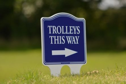 200 mm x 150 mm golf course sign blue