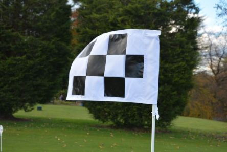 2 ply black white chequered tie on flag