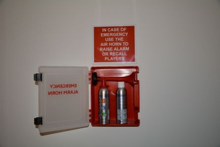 air horn alarm station for golf course