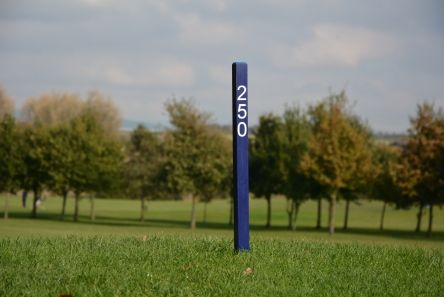 blue 250 fairway distance marker post