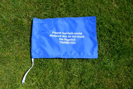covid-19 do not touch flagstick message printed flag