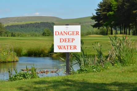 danger sign on golf course with recycled plastic post and di-bond plaque