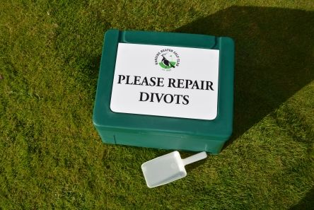 divot box with logo message