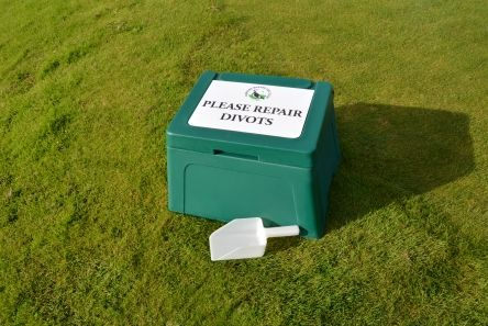 divot repair box and scoop for golf course