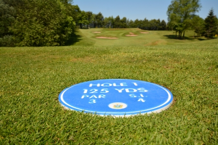 engraved tee information disc for golf course