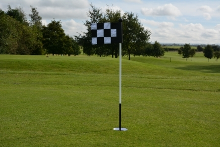 putting green pin with chequered fabric flag