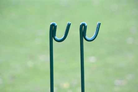 green metal rope stakes