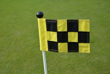 mini chequered black yellow putting green fabric flag
