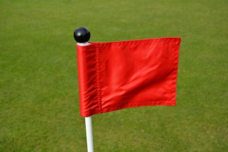 mini red putting green fabric flag