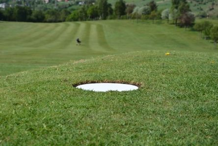 mow over white tee marker