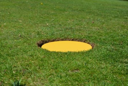 mow over yellow marker