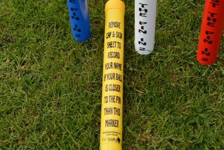 nearest the pin in 2 marker tubes