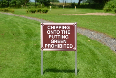no chipping sign for golf course