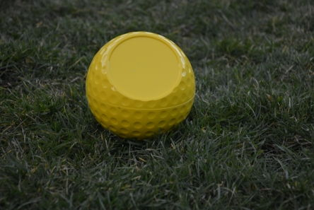 personalised dimple golf ball tee marker yellow
