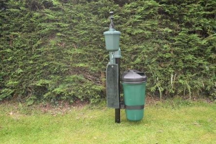 plastic litter bin for ballwasher post on golf course