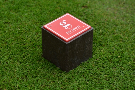 recycled plastic block tee marker with logo