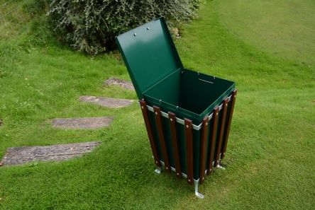 square wooden slatted litter bin with feet and solid liner with lid