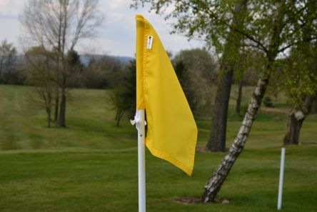 standard yellow nylon golf flag with tie