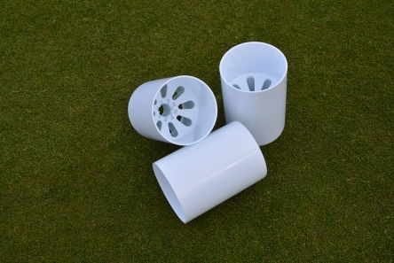 white golf hole cup