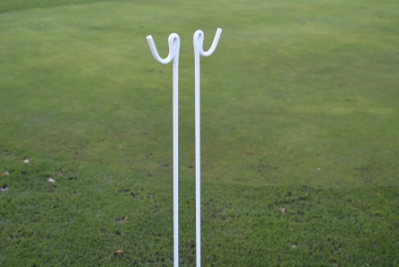 white metal rope stakes