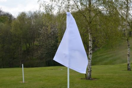 white tie on flag for golf football or rugby